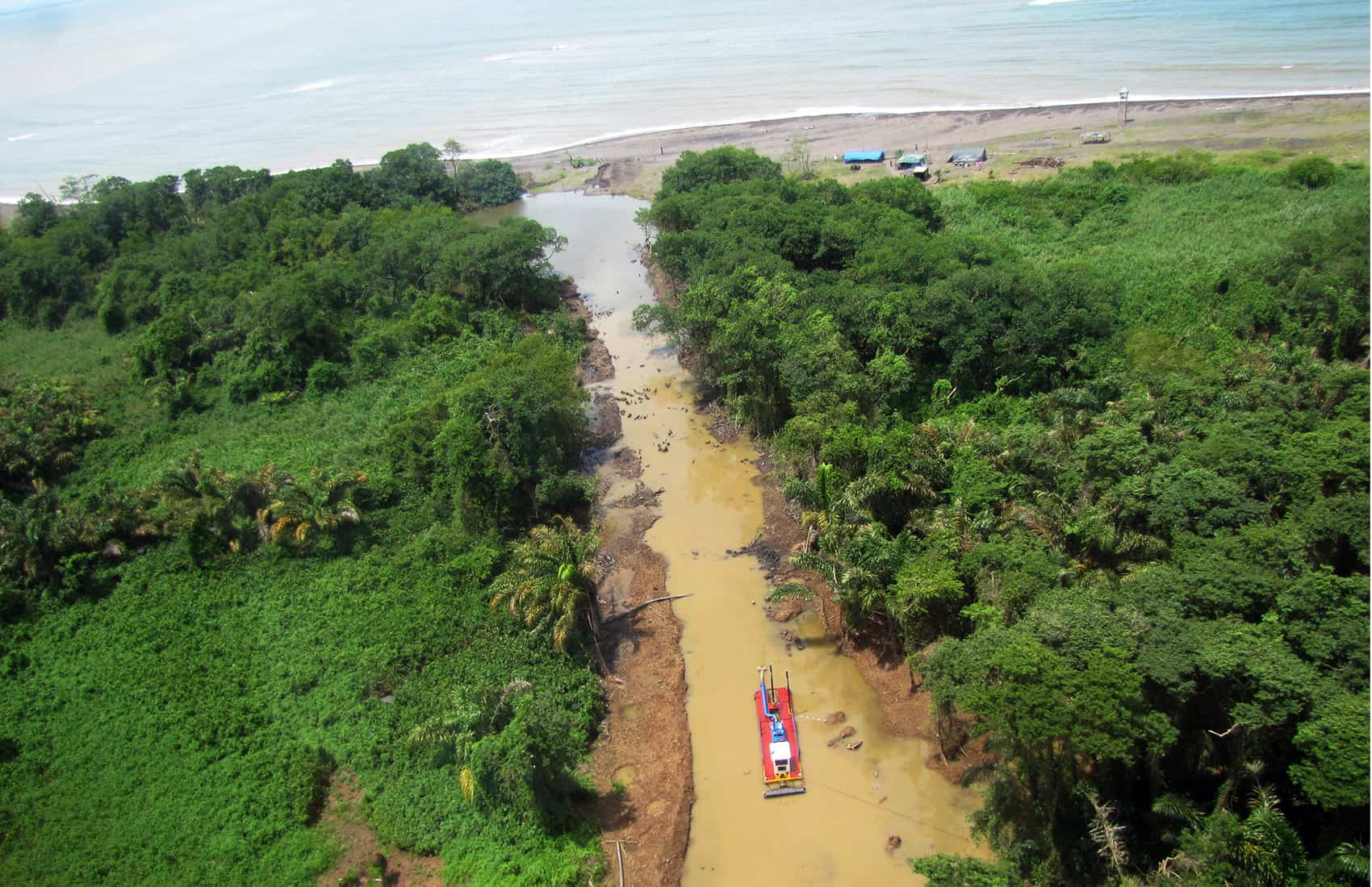 Artificial canals at Costa Rica's border territory