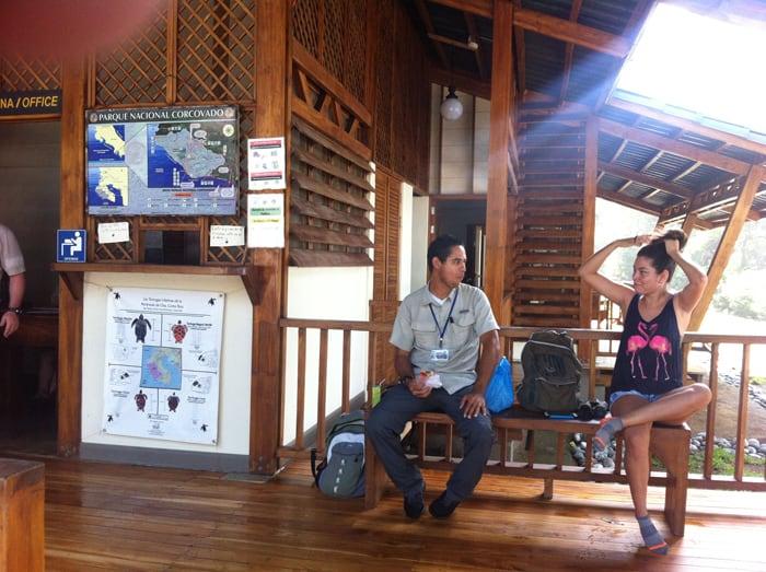 Guide meets girl at La Leona Ranger Station.