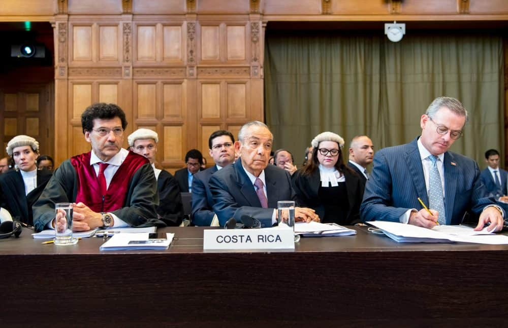 Costa Rica's legal team before the ICJ in border dispute. The Hague, Netherlands. June 3, 2017.