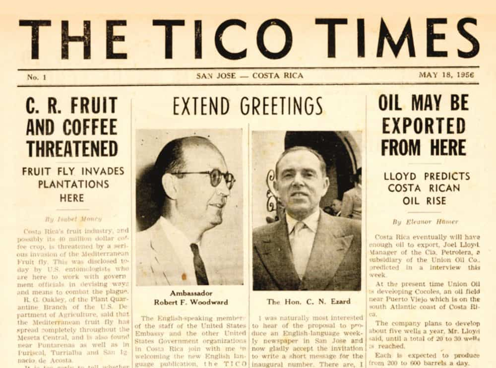 From the front page of The Tico Times' first issue in 1956.