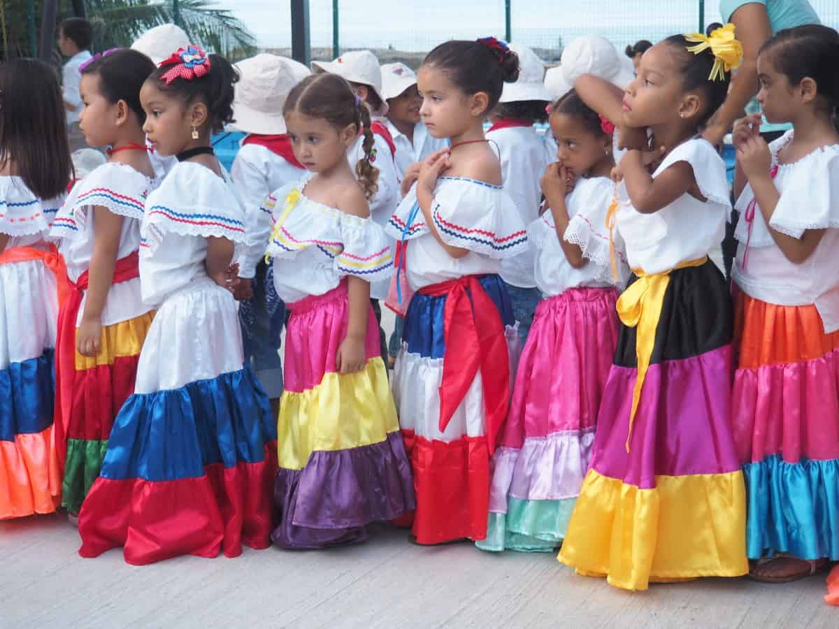 Kids in Limón, Costa Rica line up for a parade.