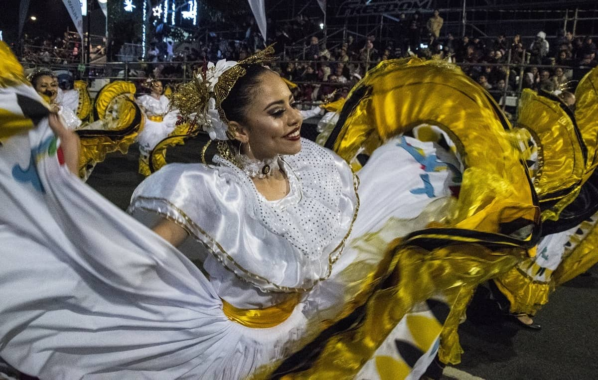 Artists perform during the Festival of Light in San José, Costa Rica.