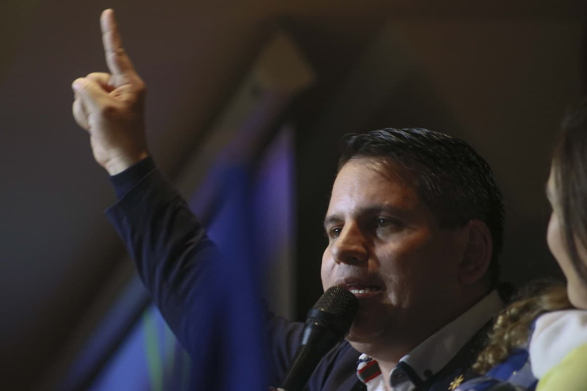 Fabricio Alvarado addresses supporters in Costa Rica on Feb. 4, 2018.