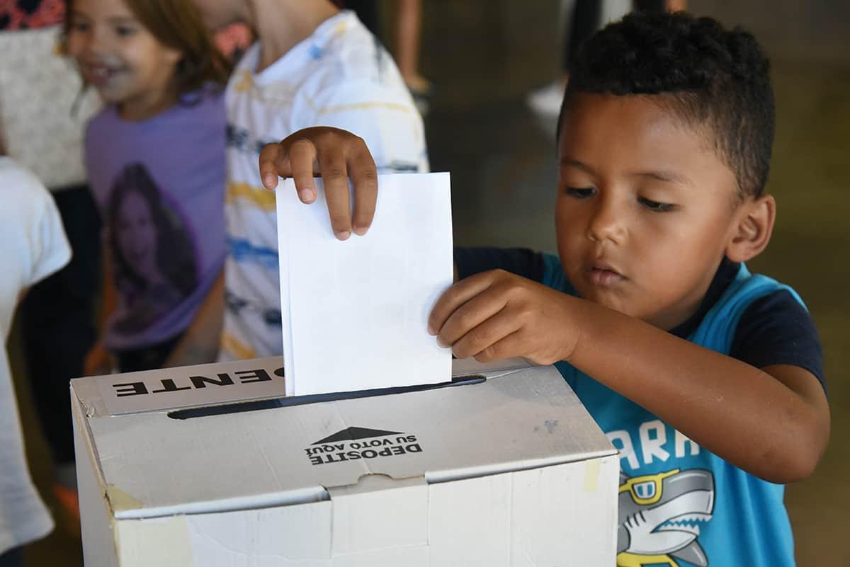 A participant in Costa Rica's Children's Election on Feb. 4, 2018.