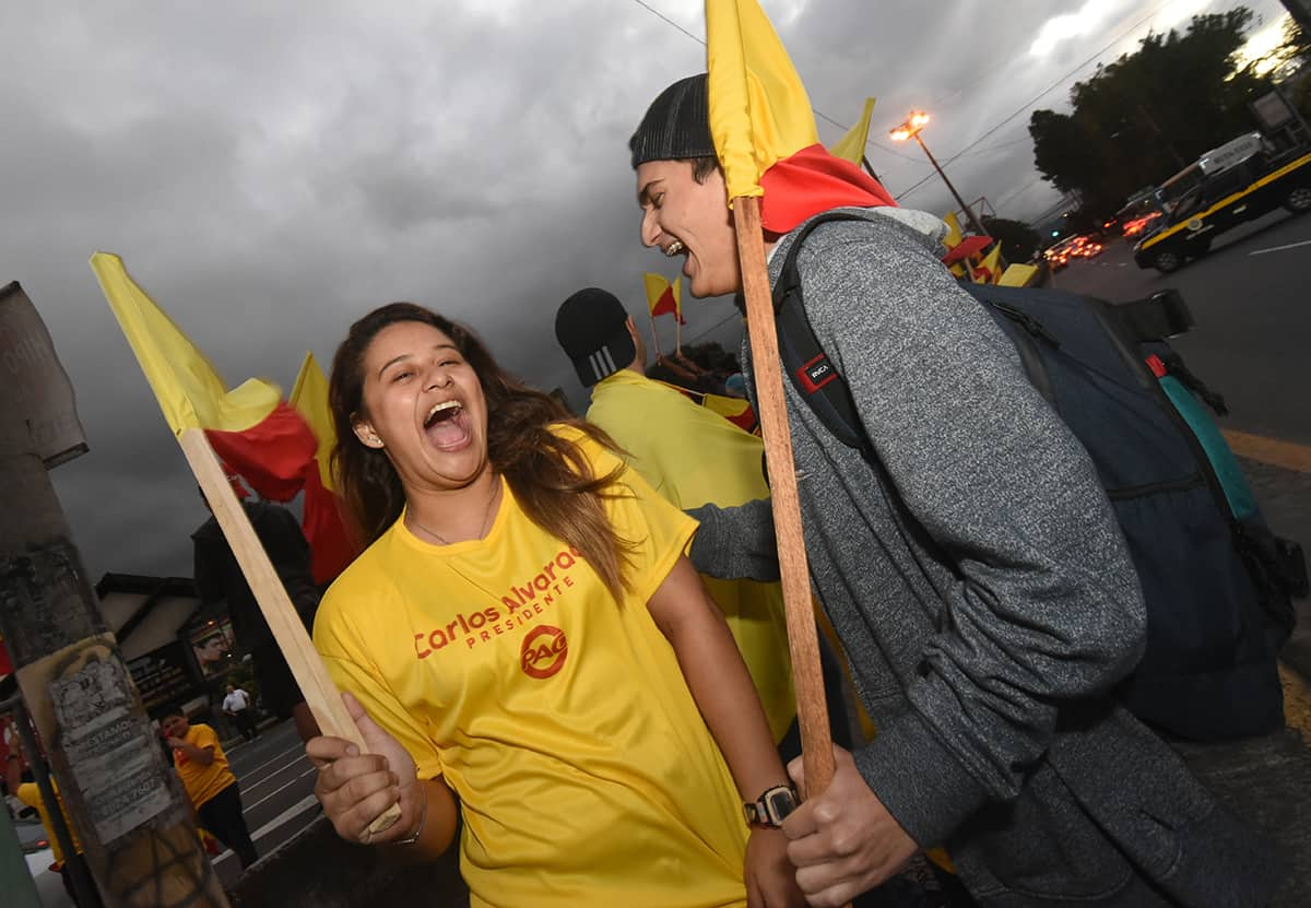 PAC supporters in Costa Rica on the eve of the elections.