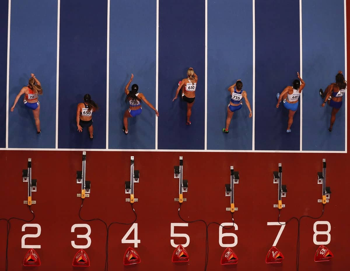 Athletes compete at the 2018 IAAF World Indoor Athletics Championships at the Arena in Birmingham, England., on March 2, 2018