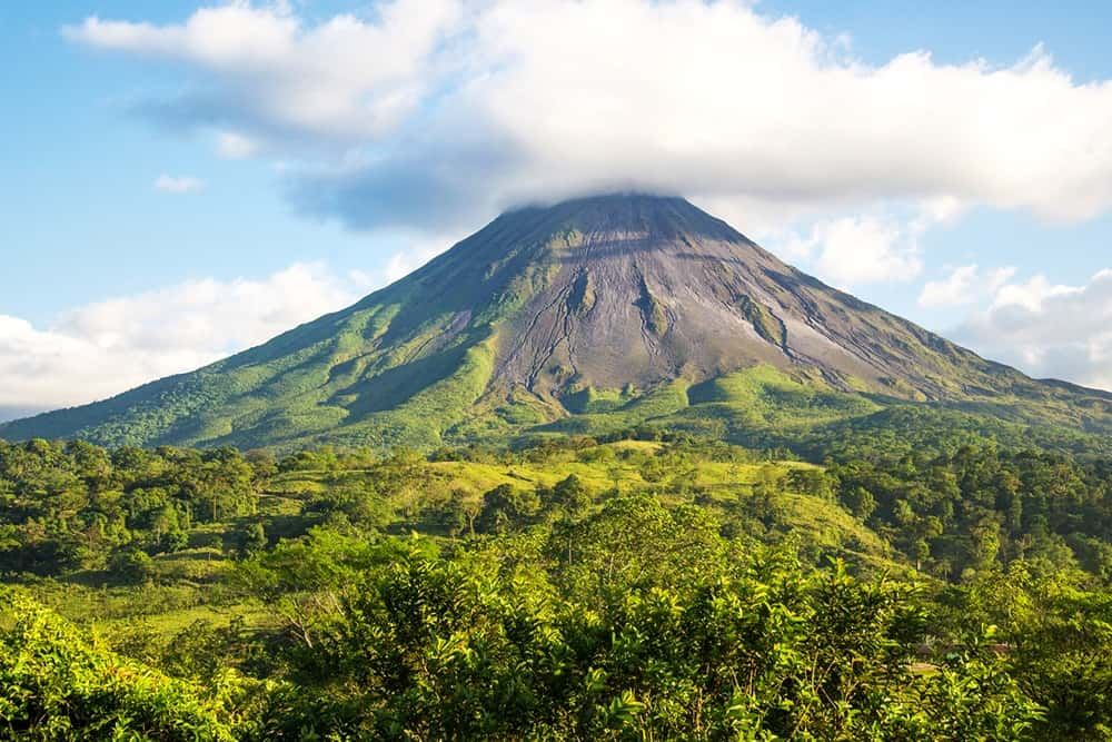 Arenal Volcano, Costa Rica, on a sunny day.