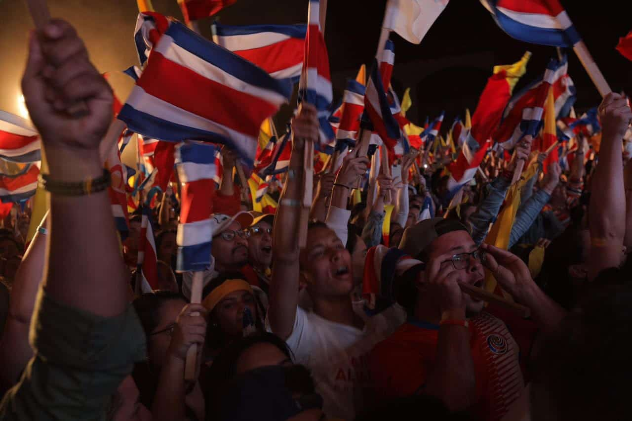 Supporters of Carlos Alvarado celebrate in San Pedro, San José, Costa Rica, on April 1, 2018.