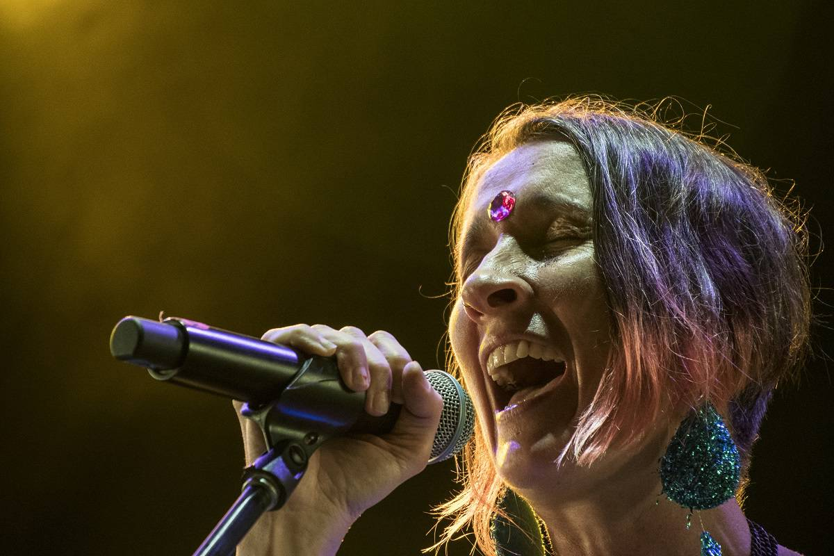 Andrea Echeverri of the Colombian musical group Aterciopelados performs in Costa Rica.