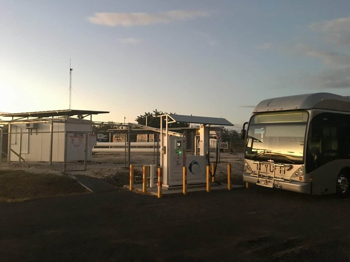 """Hydrogen fuel cell bus """"Nyuti"""" at the hydrogen dispenser at Ad Astra Rocket Company Costa Rica."""