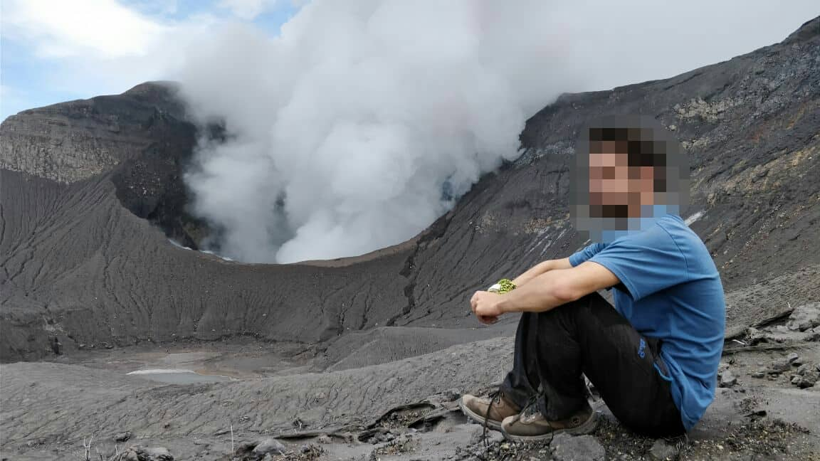 Illegal visitors to the crater of Turrialba Volcano, Costa Rica