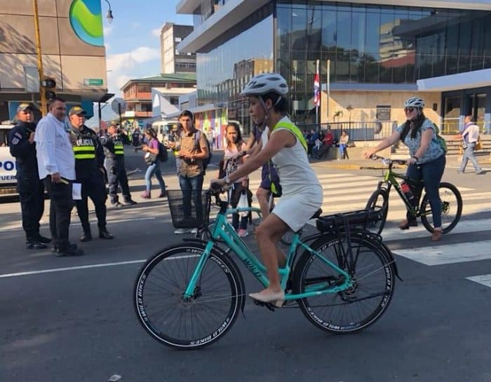 Legislative Assembly President Carolina Hidalgo bikes to Costa Rica's presidential inauguration on May 8, 2018.