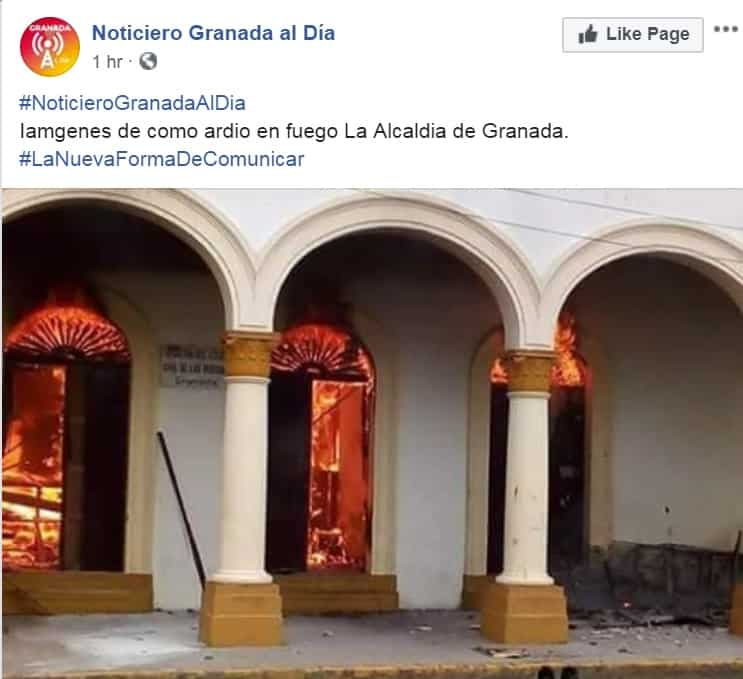 The Alcaldía de Granada, Nicaragua in flames.