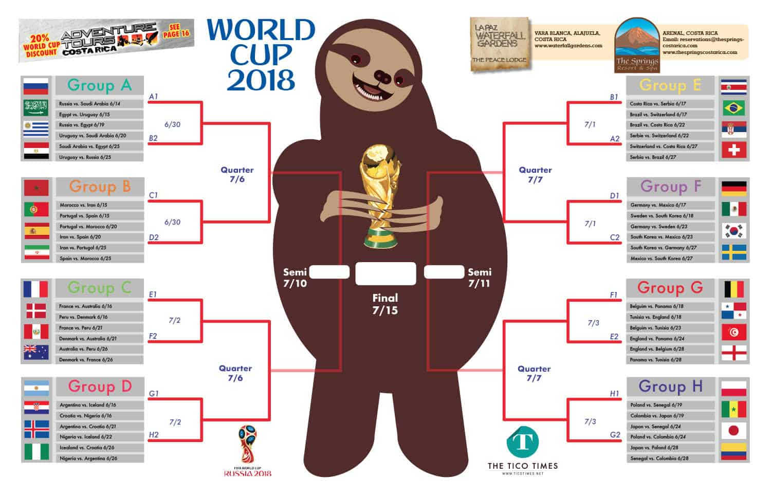 The Tico Times' World Cup brackets