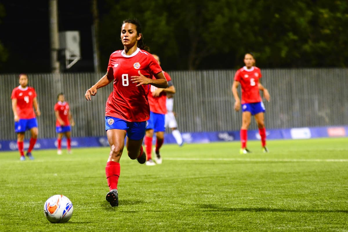 Costa Rica's Daniela Cruz during her team's football match against Trinidad and Tobago at the 23rd Central American and Caribbean Games in Barranquilla, Colombia on July 27th, 2018.
